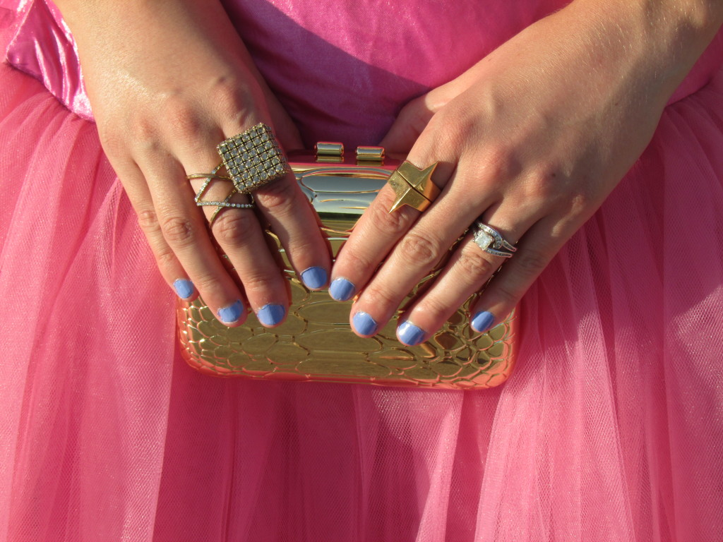 Bebe clutch, Botkier ring, Forever 21 ring