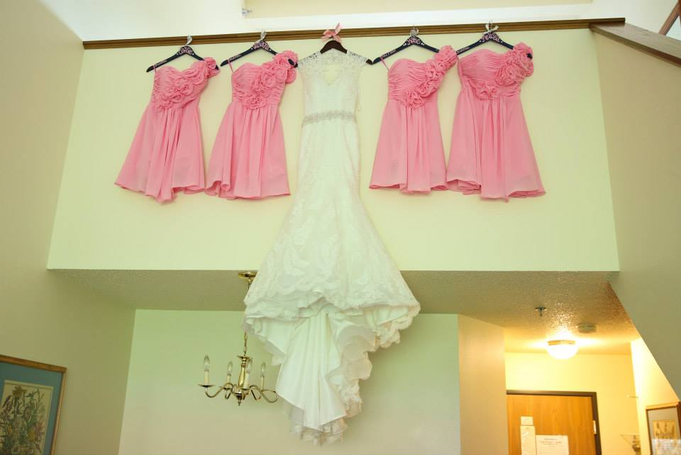 wedding dress, pink bridesmaid dresses