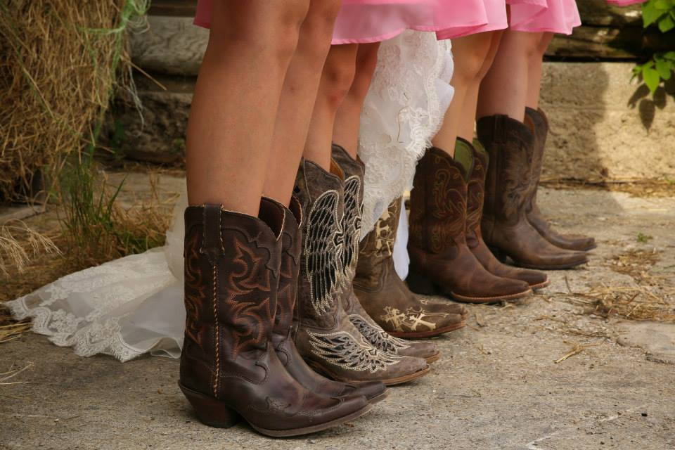 cowgirl boots, bridesmaids, bride, wedding day