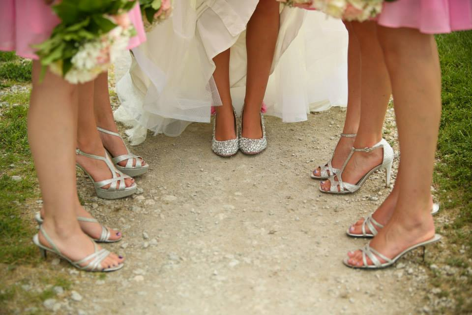 silver shoes, bridesmaids, bride