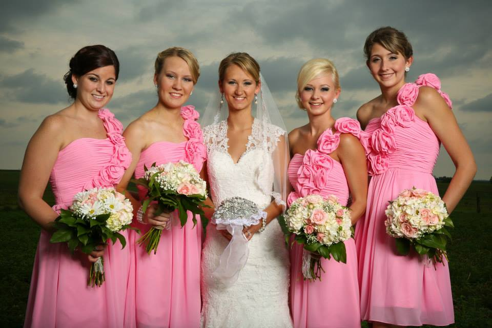 bride, bridesmaids, wedding day