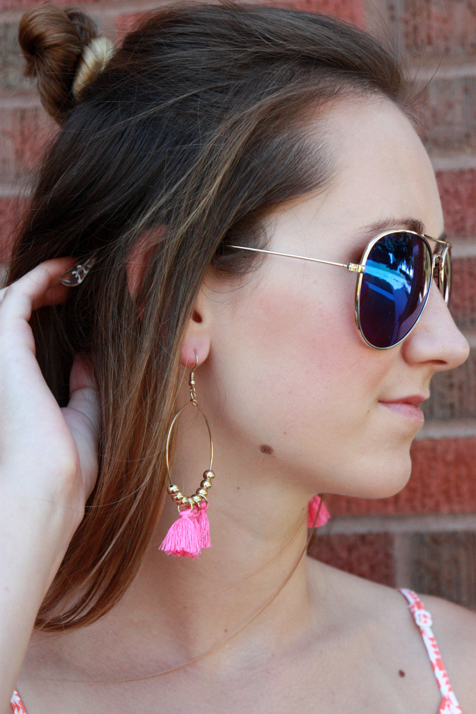 tassel earrings, Old Navy, aviators