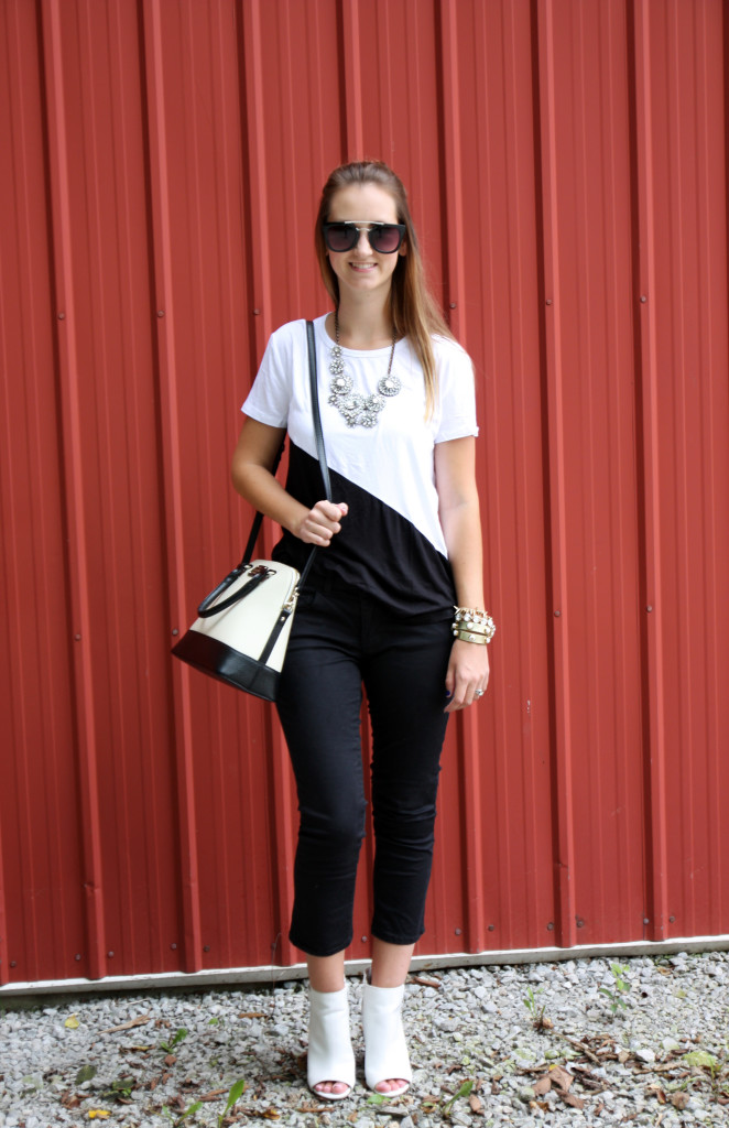 black and white, Forever 21 top, Kate Spade