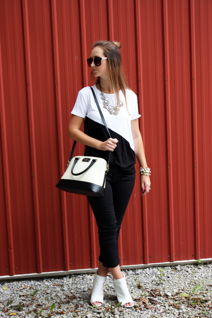 Kate Spade bag, statement necklace, black and white