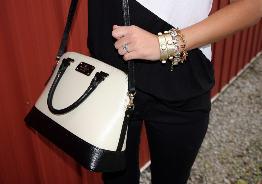 Kate Spade purse, Tory Burch wrap bracelet