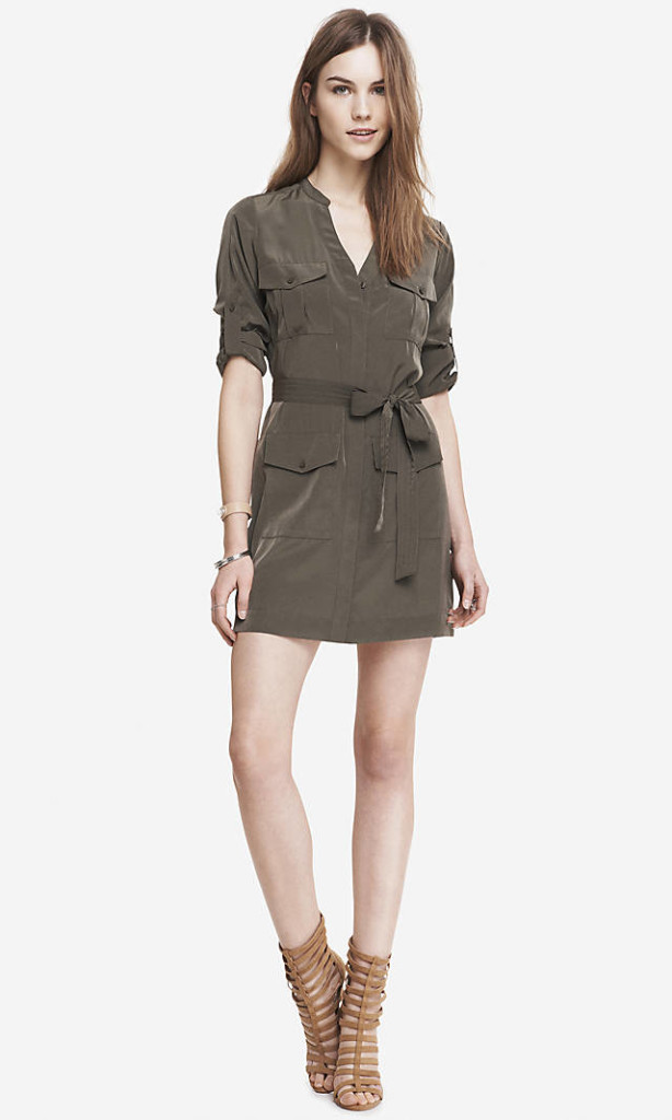 green military shirt dress, express