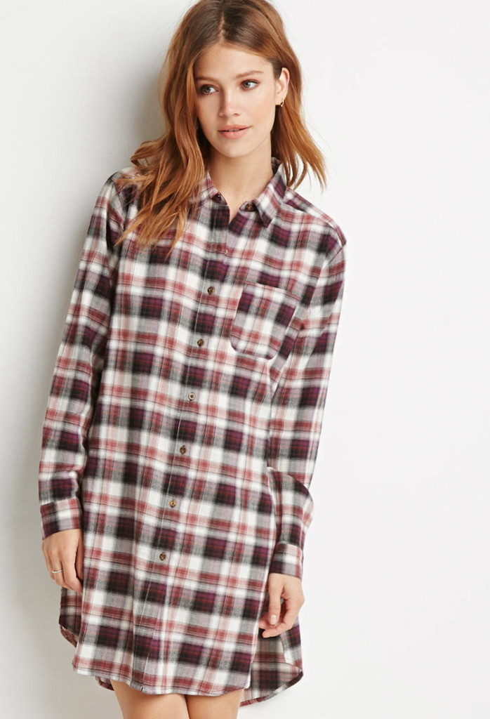 high-split plaid flannel tunic, Forever 21