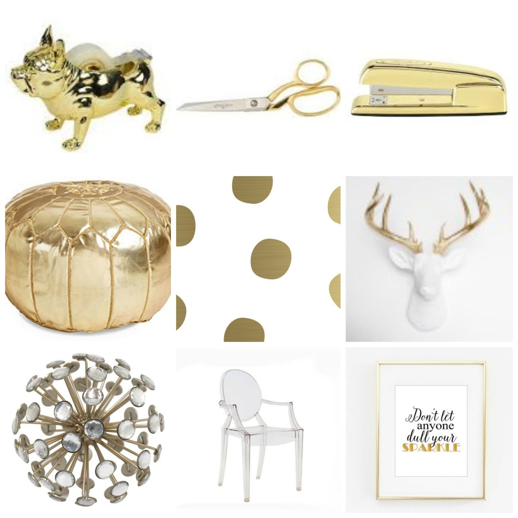 gold office decor, Nate Berkus, Target