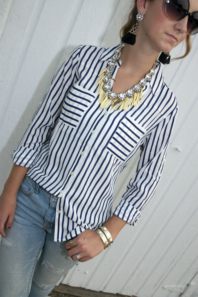 nautical stripes, white, blue, Express