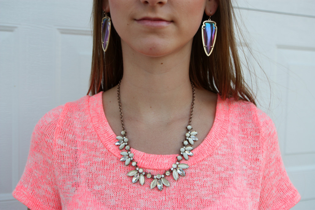 Forever 21, statement necklace, Kendra Scott earrings