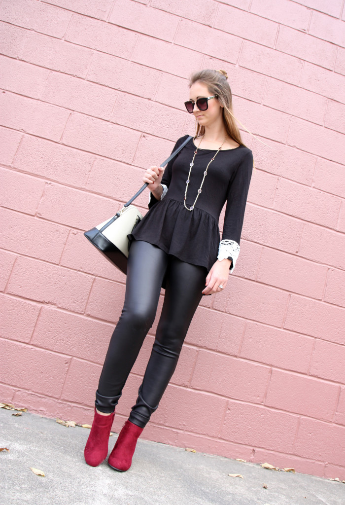 faux leather leggings, express, lace sleeves