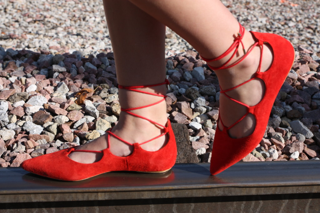 Topshop, red lace up flats