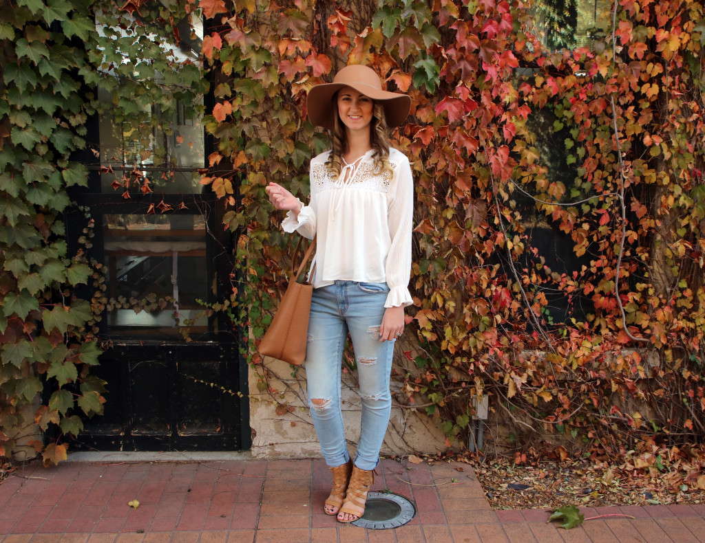 Old Navy hat, H&M blouse