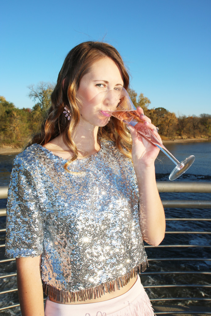champagne, Nasty Gal sequin top, 21st birthday