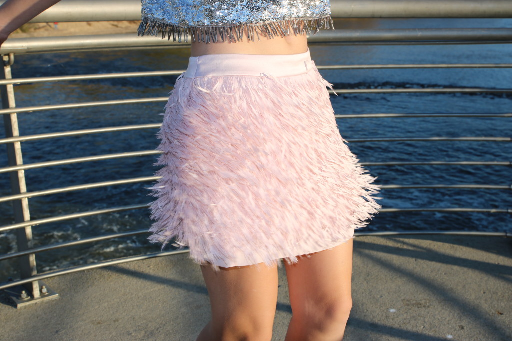 Express, pink fringe skirt