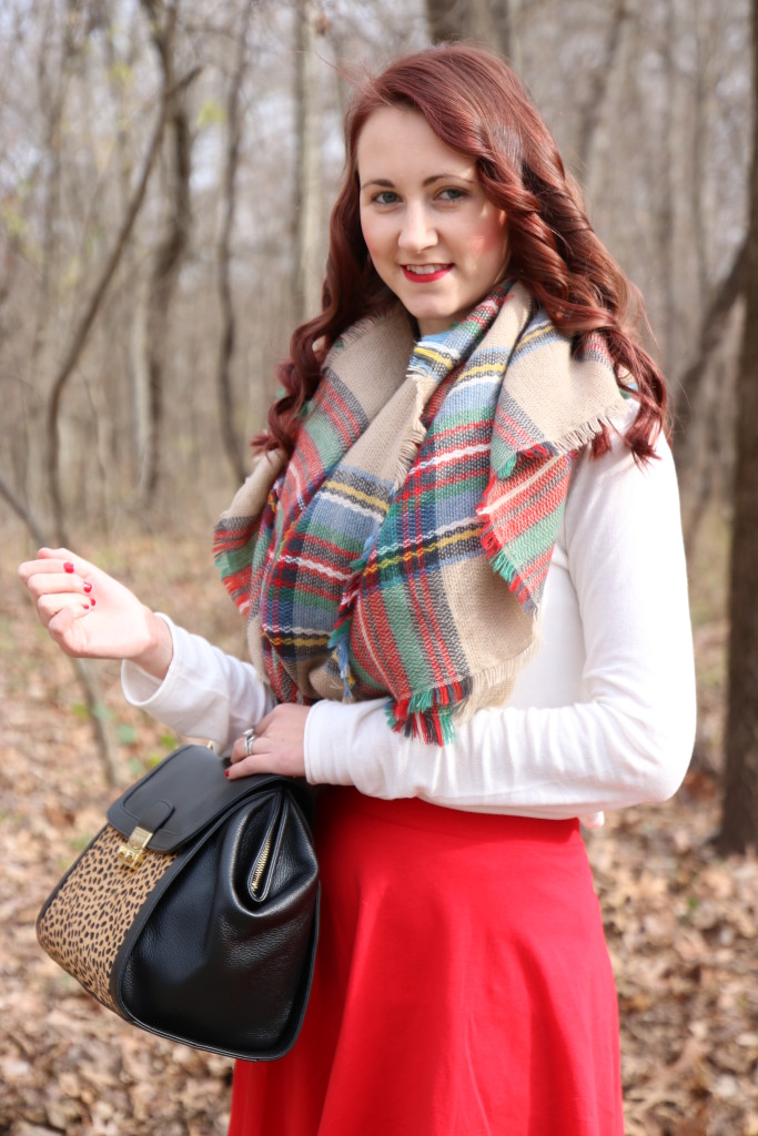Luxe Statements blanket scarf, Vera Bradley bag