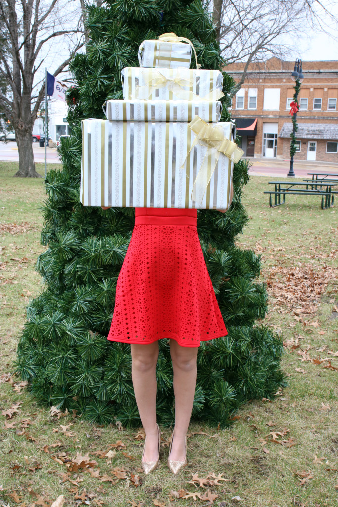 Target wrapping paper, red dress, holiday look