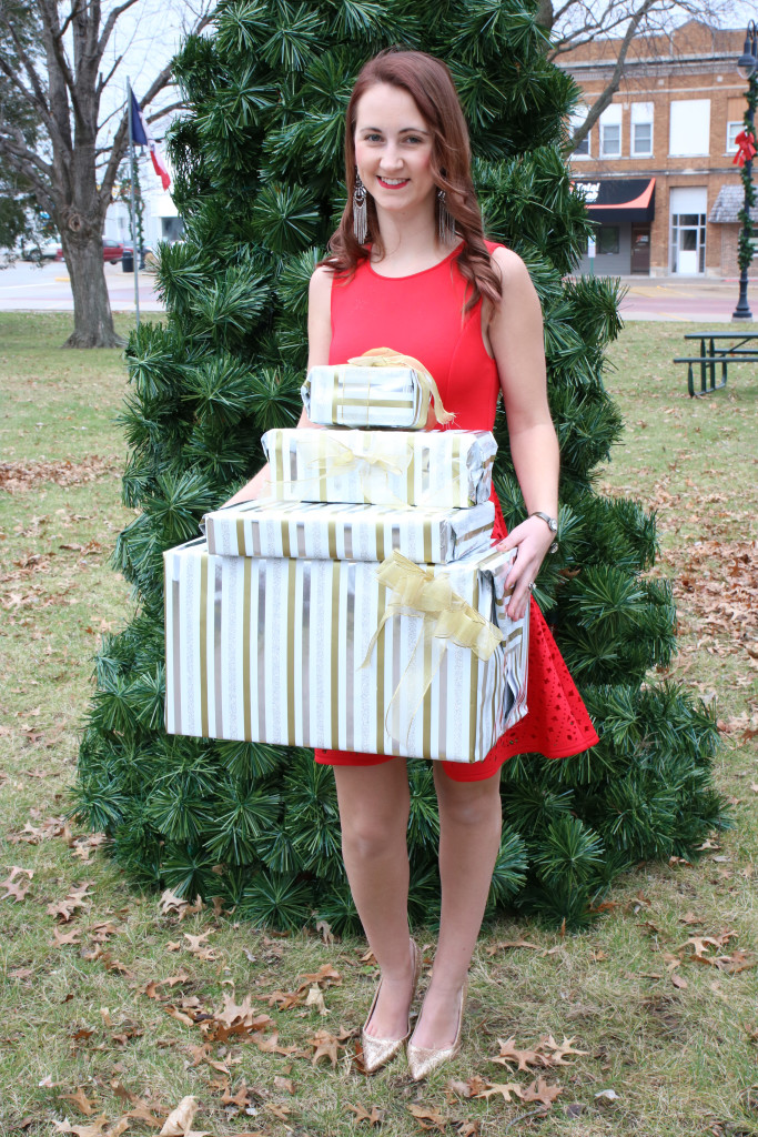 red Francesca's holiday dress, Target wrapping paper