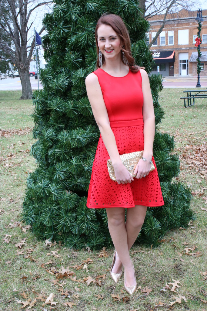 red dress, glitter clutch