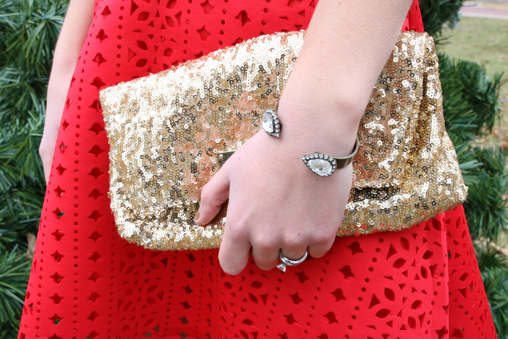 gold sequin clutch, Loren Hope cuff bracelet