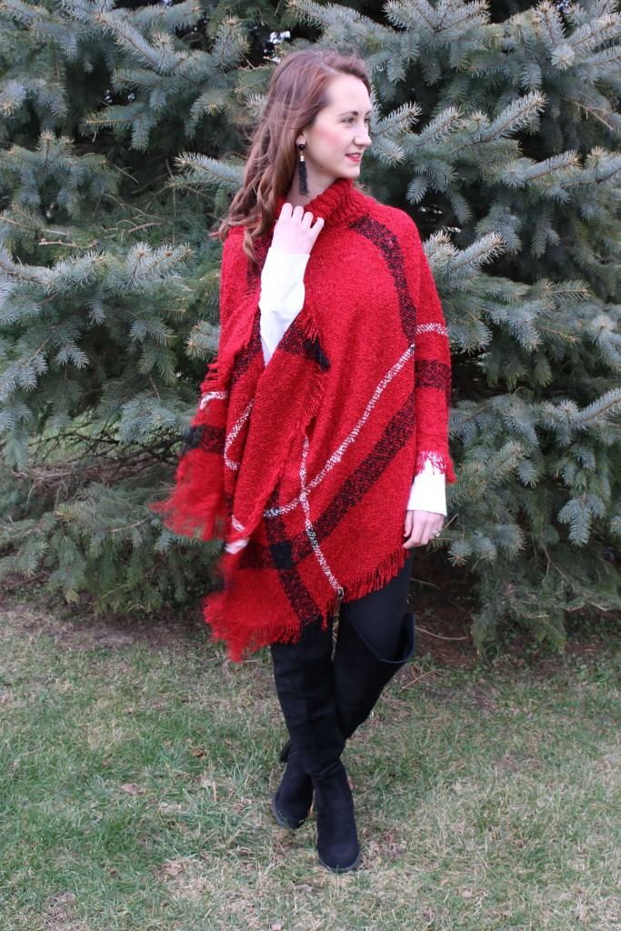 plaid poncho, express faux leather leggings