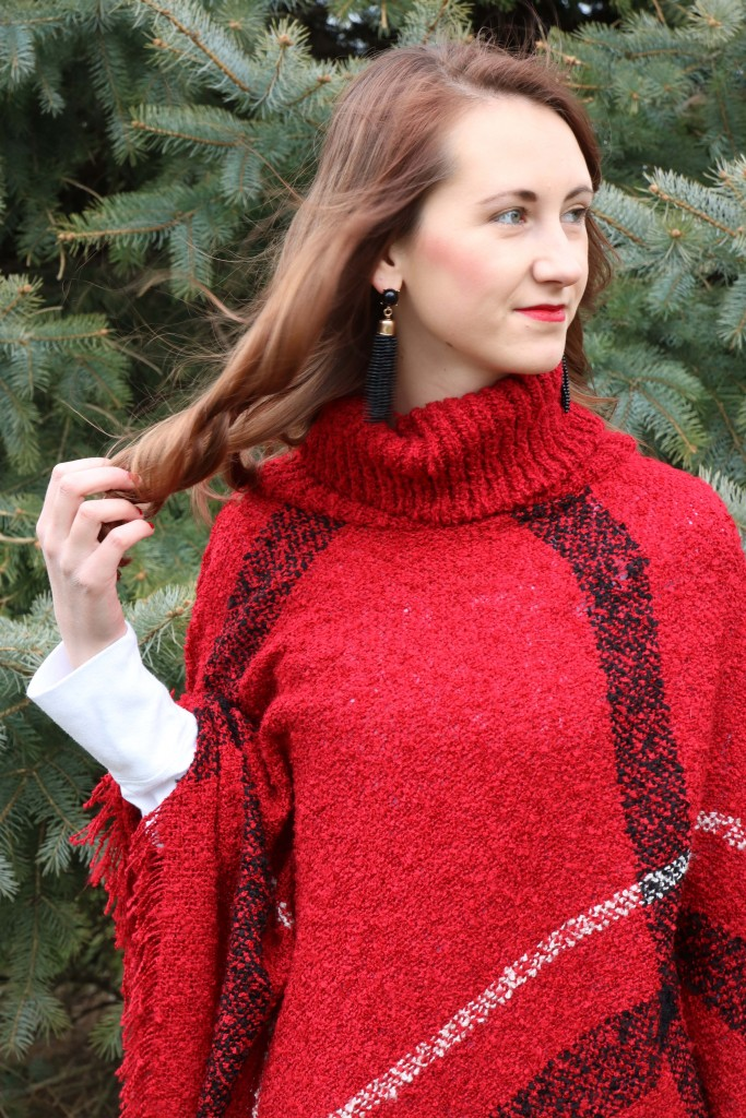 JuJu Lane Boutique, red plaid poncho