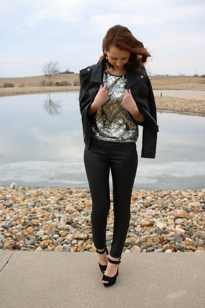 New Year's Eve look, Express sequin top