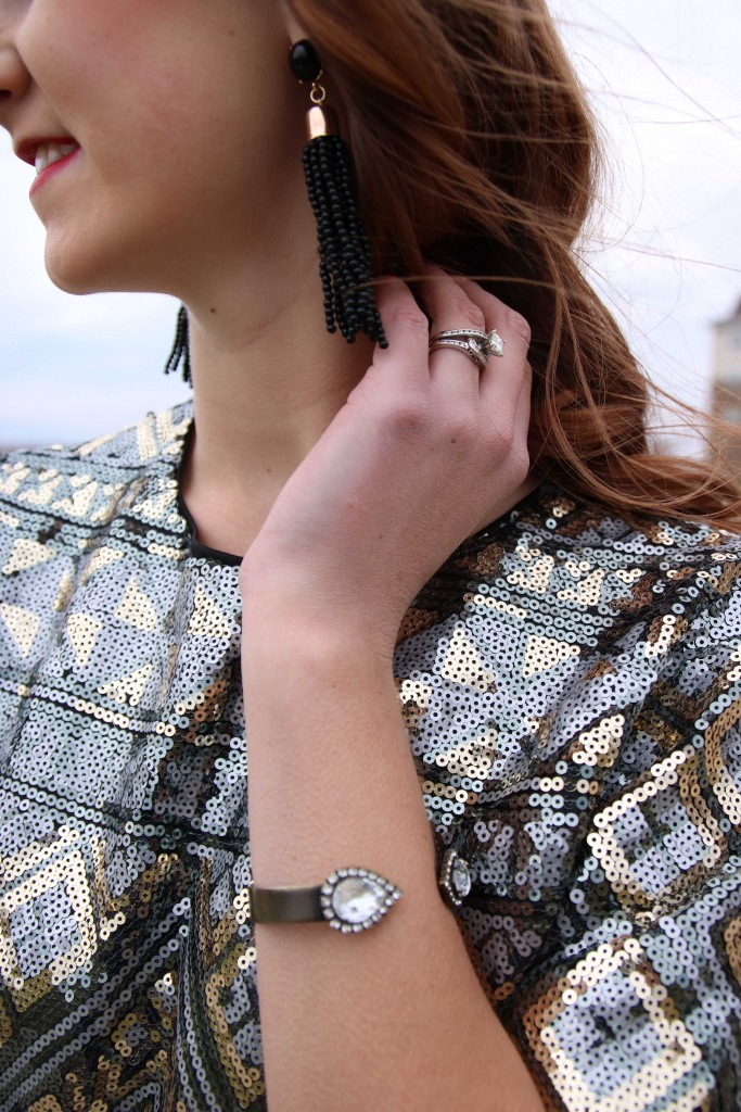Forever 21 sequin top, Purple Peridot earrings, Loren Hope cuff