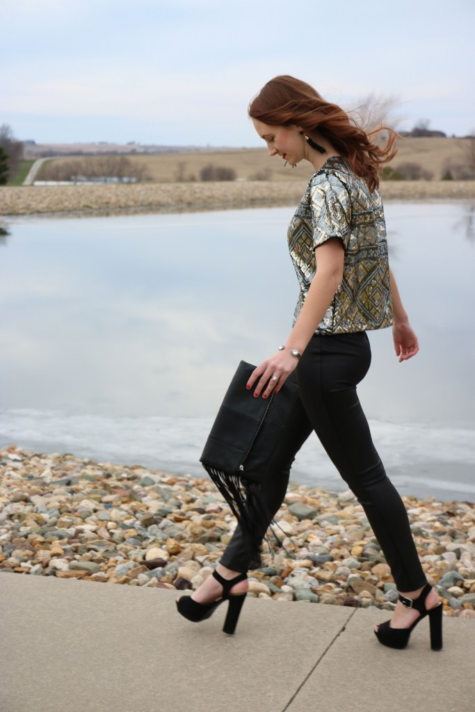 Express tassel clutch. Express scuba leggings, sequin top
