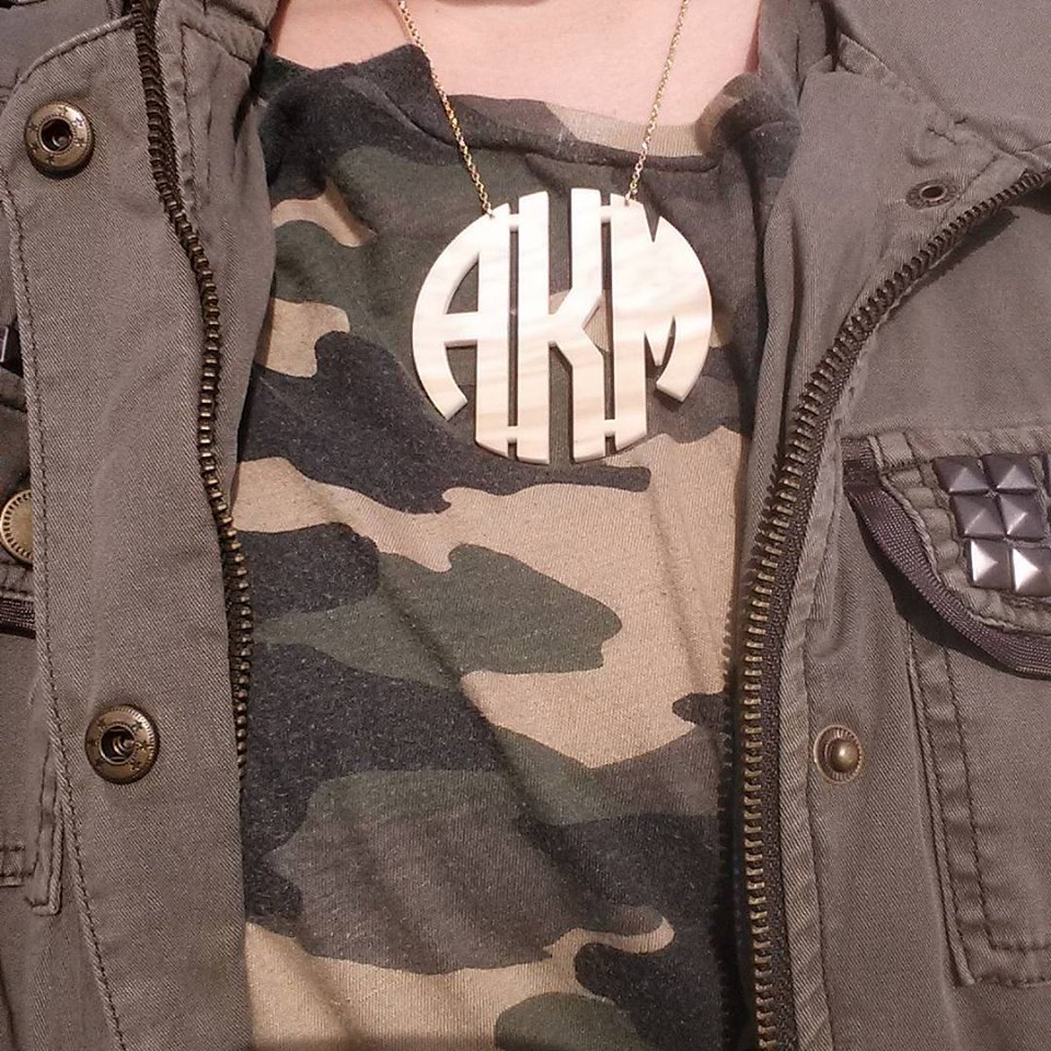 Bauble Bar monogram necklace, camo