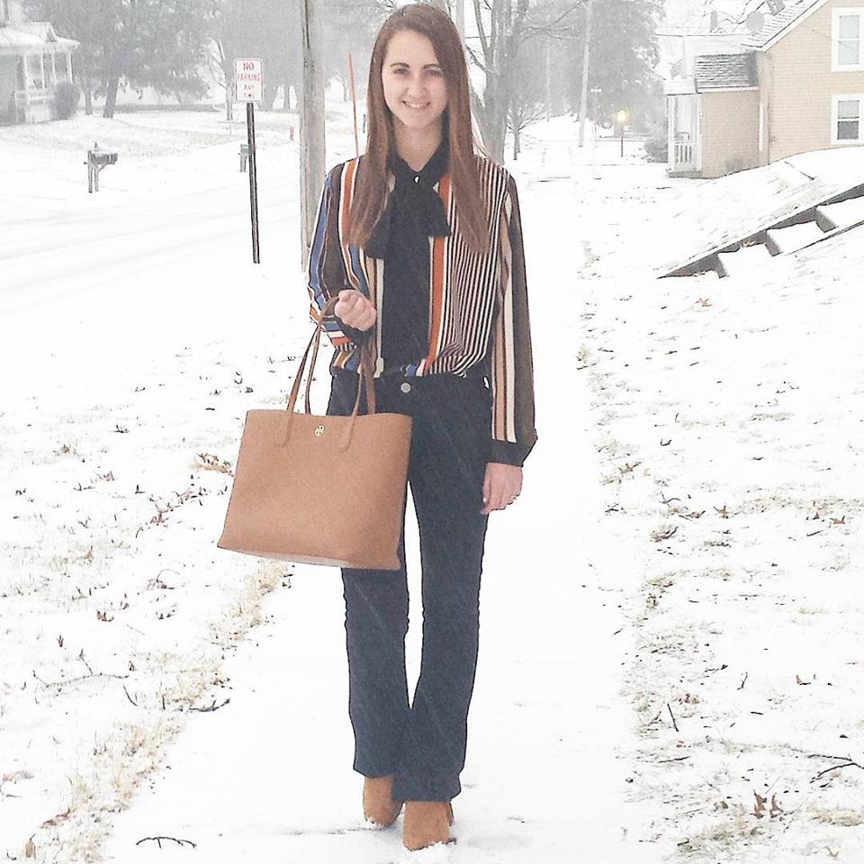 SheIn blouse, Express flare jeans, snow, winter