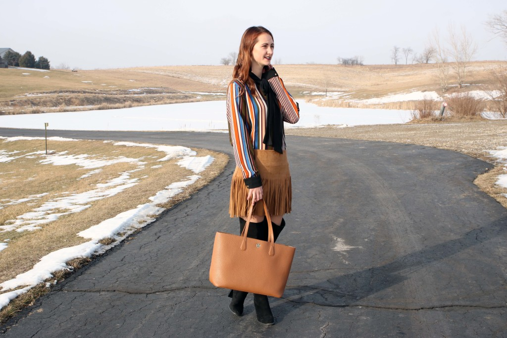 Tory Burch tote, winter look, snow