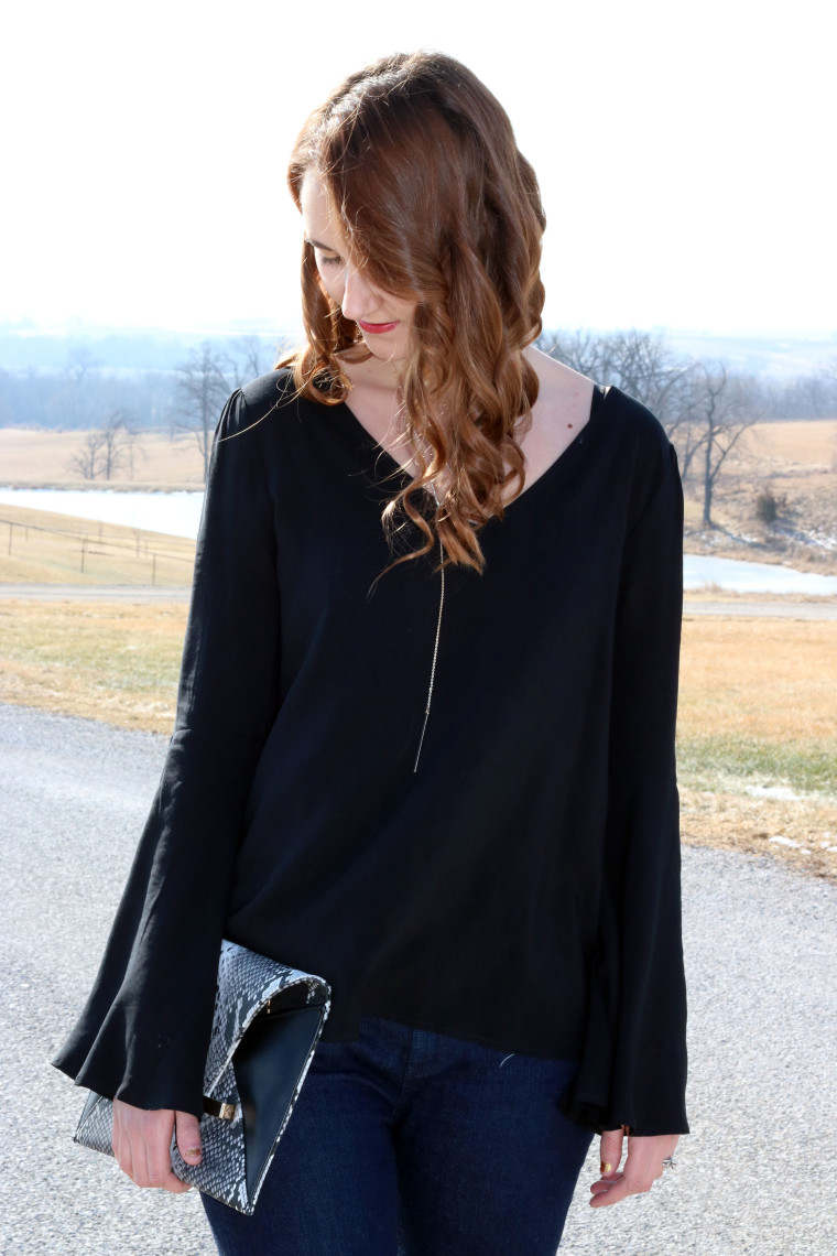 Express black bell sleeve top