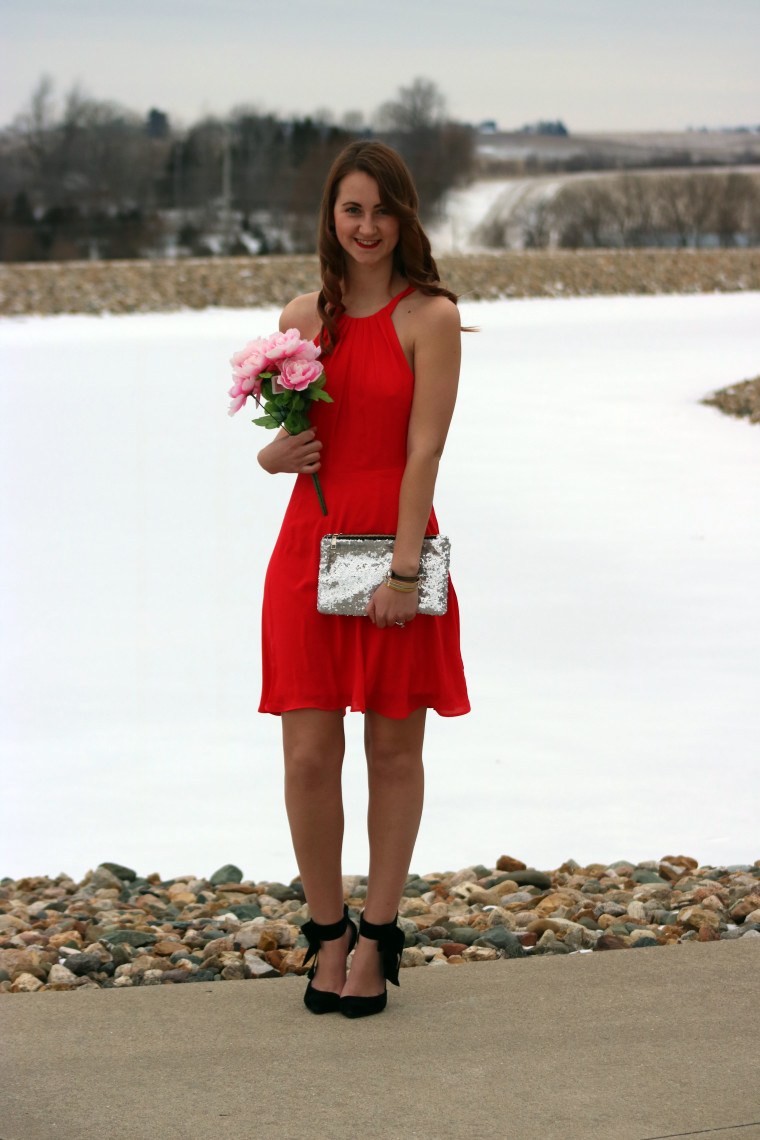 Express red dress, Valentine's Day look