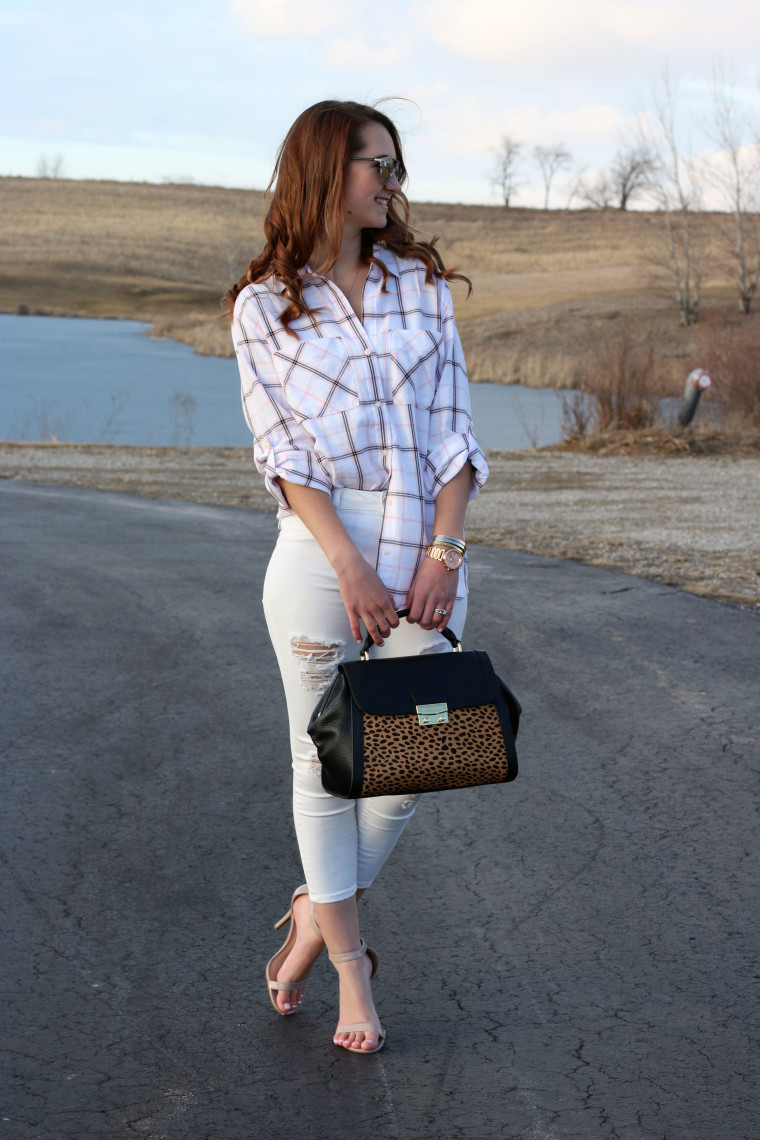 Express plaid top, American Eagle crop jeans