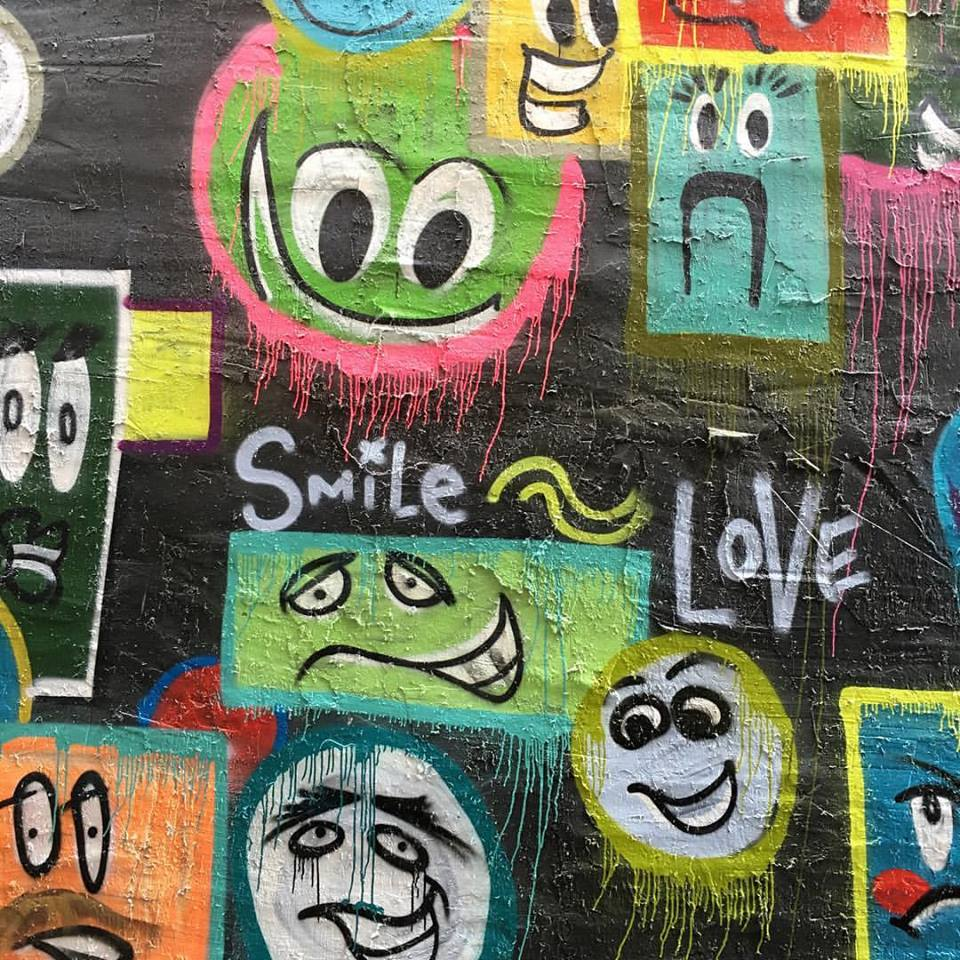 downtown, Iowa City, Iowa, smile wall