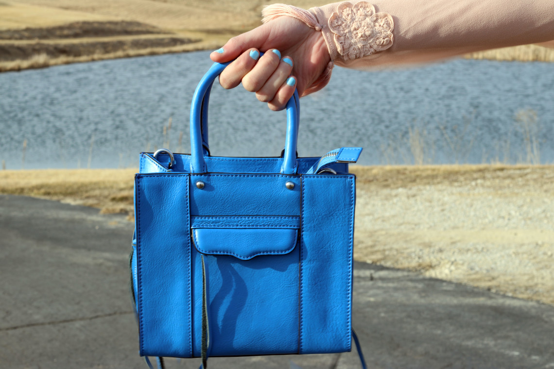pastel blue bag, Rebecca Minkoff mini mac tote
