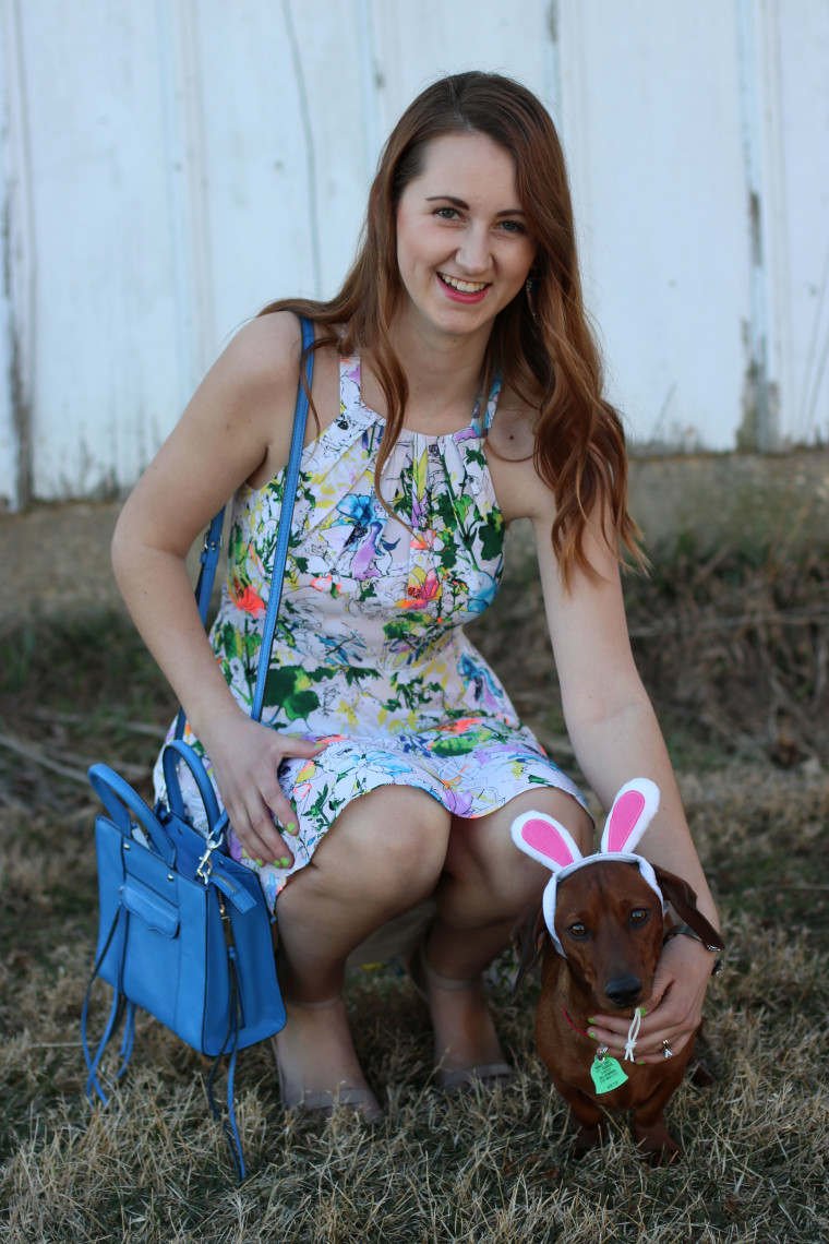 floral dress, Easter look, weiner dog, Spring