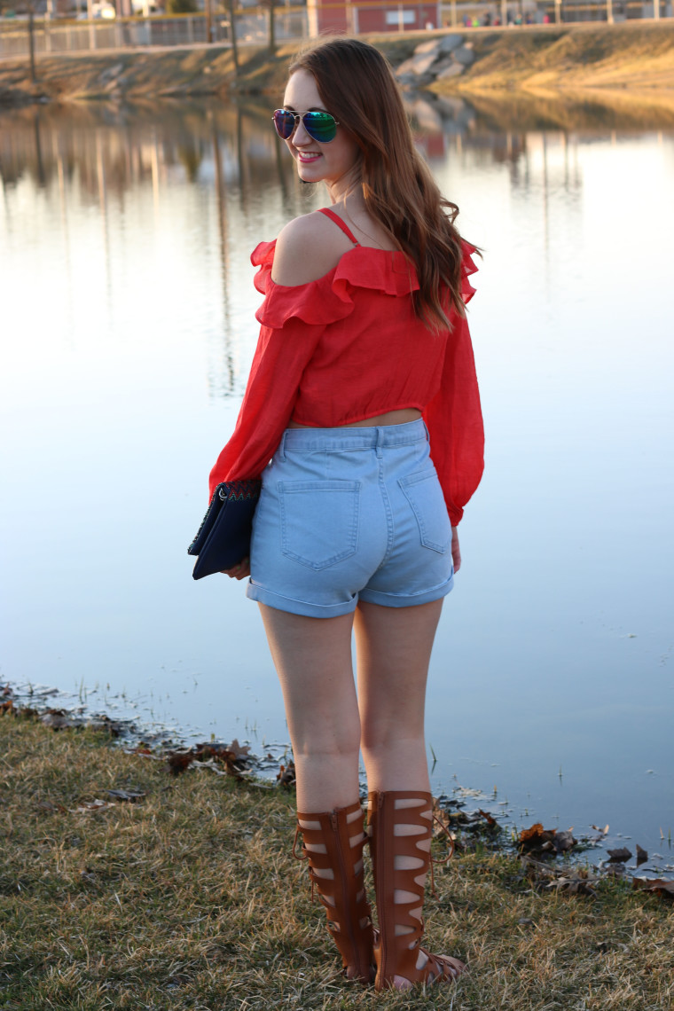 Forever 21 high-waist shorts, orange top, gladiators, Target