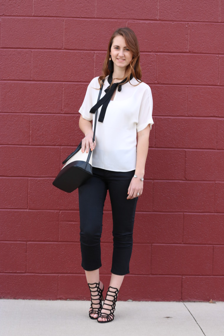 black and white look, Express top, blouse