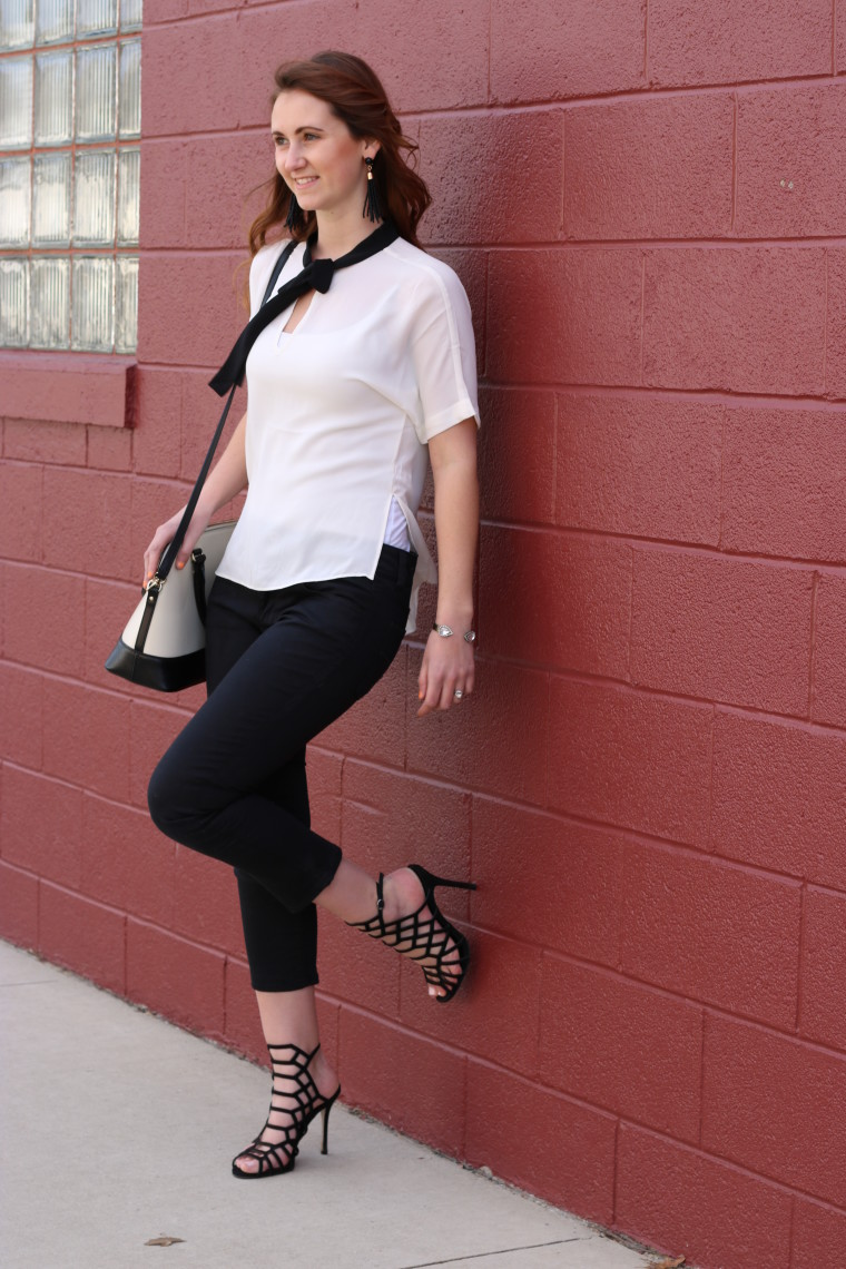 black and white outfit, Express bloise. Steve Madden heels, Kate Spade tote