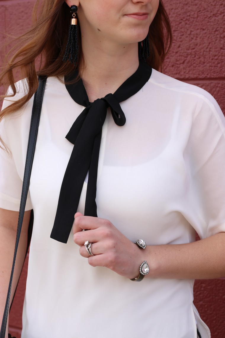 Express blouse, black and white, Loren Hope cuff bracelet