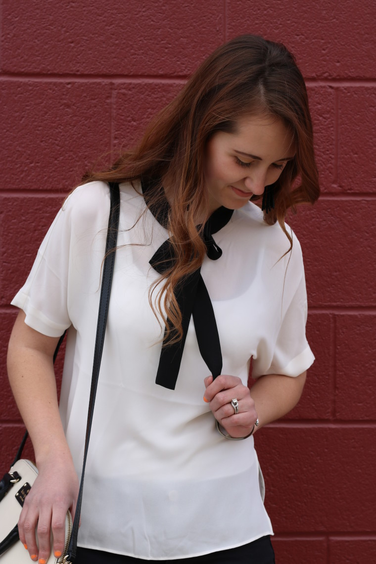 Express black and white blouse, tresemme curls, Kate Spade