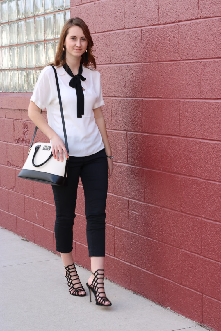 black and whtie outfit, Express tie blouse, Steve Madden heels, Kate Spade bag