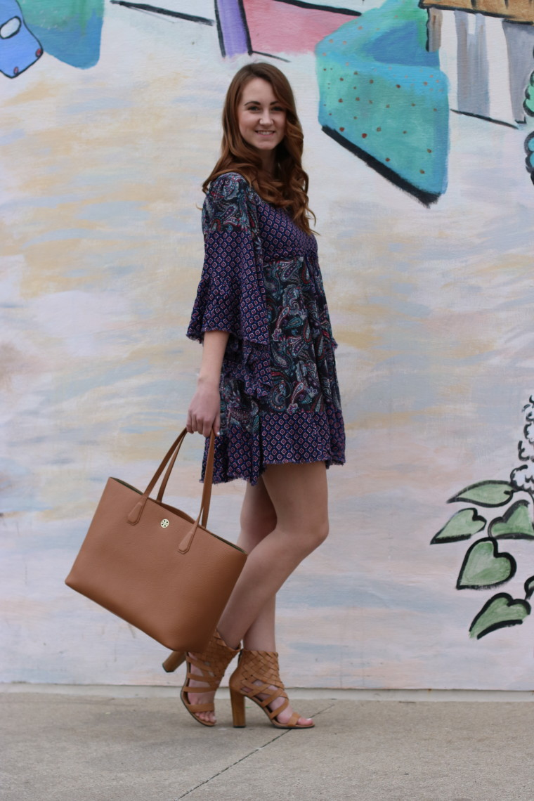 Tory Burch tote, printed dress, bell sleeves, Iowa City, Iowa