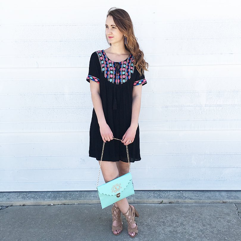 The Mint Julep Boutique embroidered dress, Marly Lily monogram clutch
