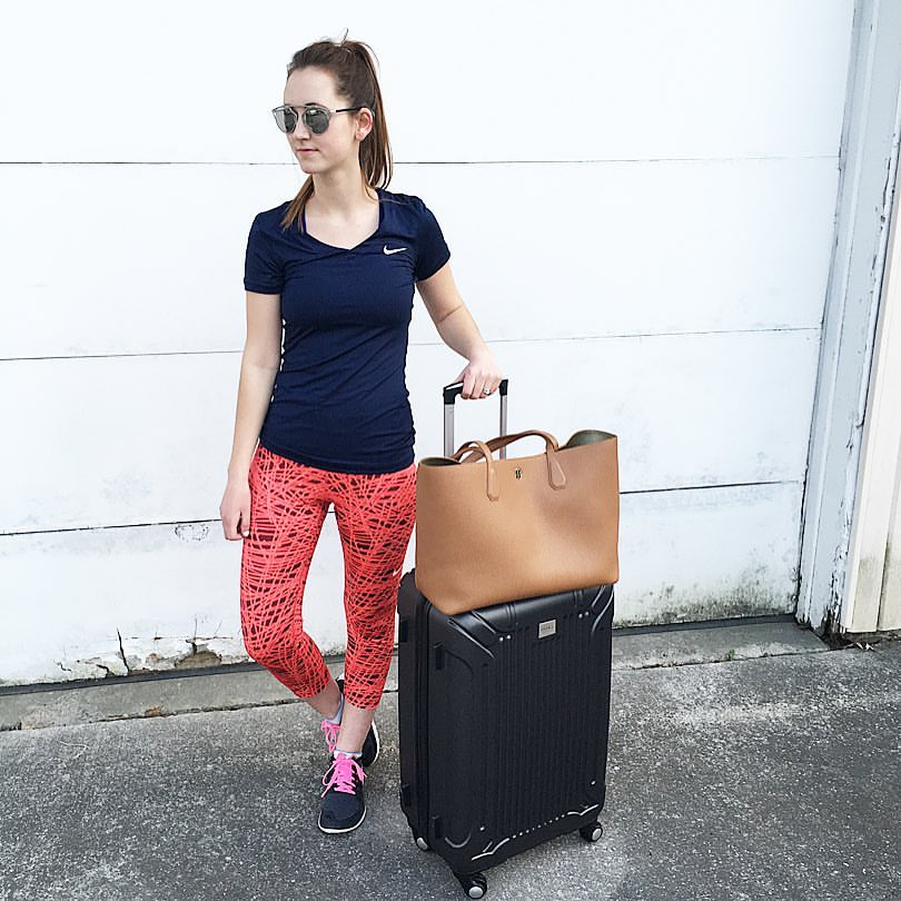 travel blogger, Nike Nike Women, Kohls suitcase, Amazon mirrored sunglasses