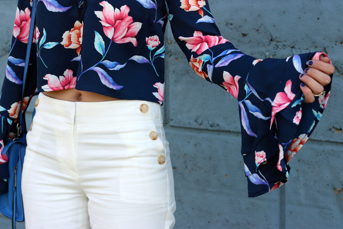 bell sleeves, Forever 21 floral blouse, Loft culotte pants