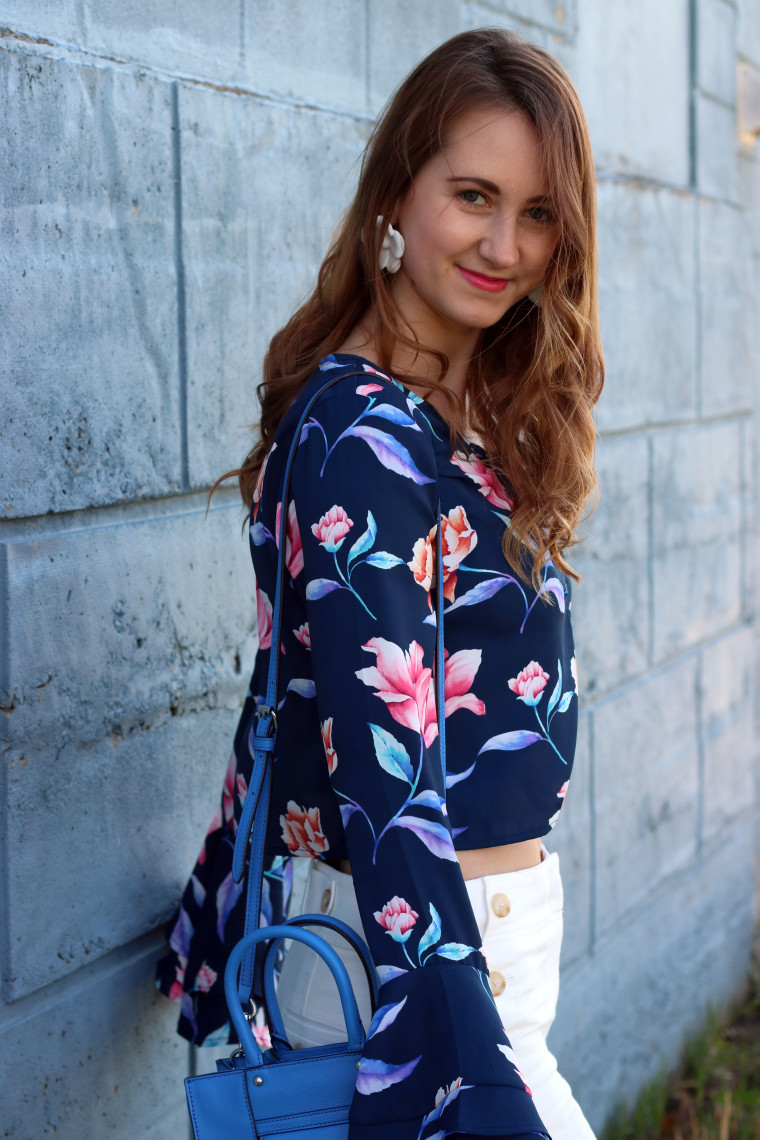 floral blouse, sexy look, Loft culotte pants, Forever 21 floral blouse, Rebecca Minkoff tote