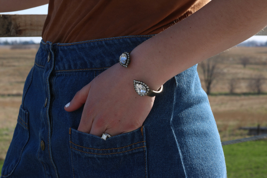 Loren Hope cuff bracelet, denim skirt
